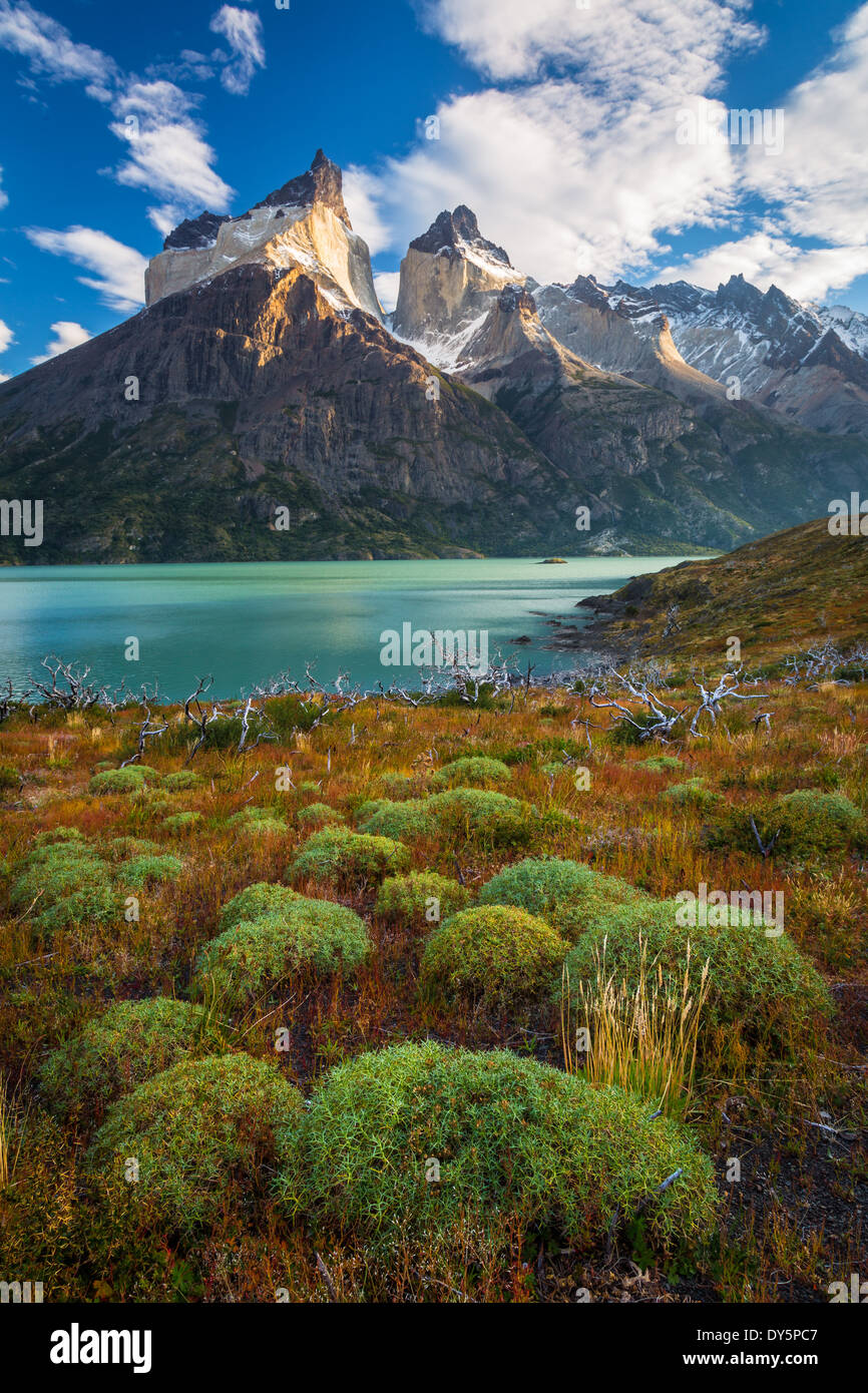 Los Cuernos towering above Lago Nordenskjold in Torres del Paine, Chilean part of Patagonia - Stock Image