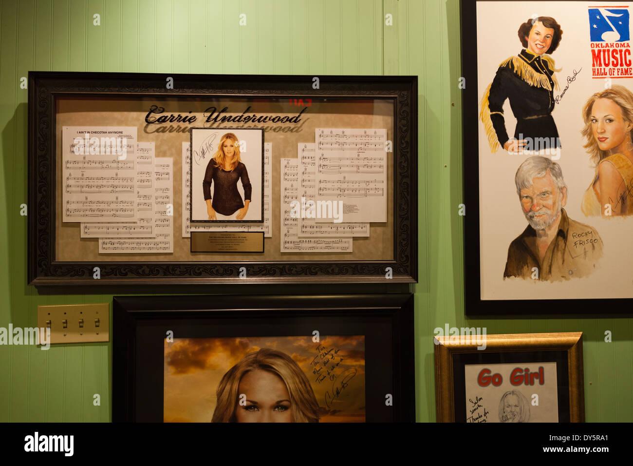 USA, Oklahoma, Muskogee, Oklahoma Music Hall of Fame, display on Carrie Underwood, Oklahoma-born country music superstar Stock Photo