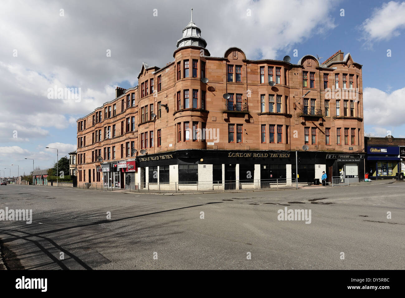 Tenements houses at Springfield Cross in Glasgow, Scotland, UK - Stock Image