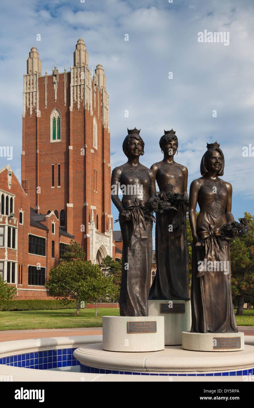 USA, Oklahoma, Oklahoma City, Miss America Monument, Oklahoma City University Stock Photo