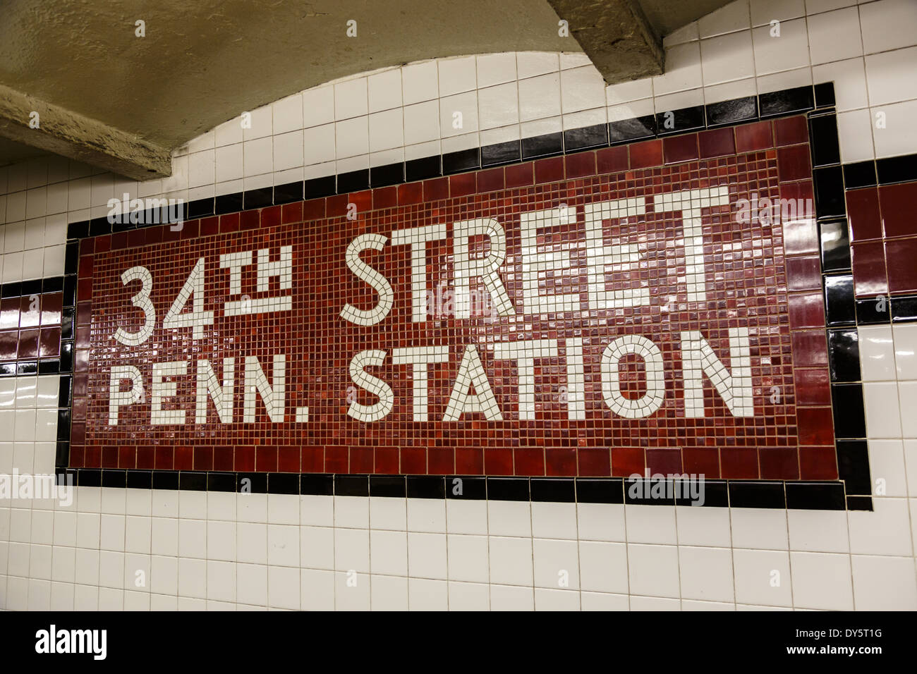 34th street penn pennsylvania station tiled sign manhattan new york city usa stock image