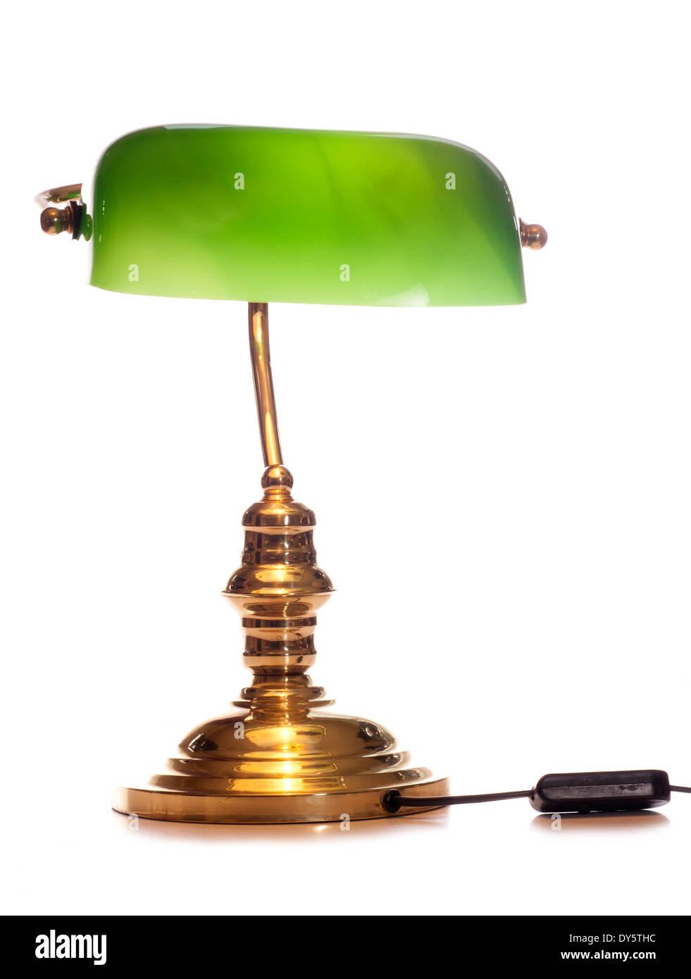 antique green bankers lamp studio cutout - Stock Image