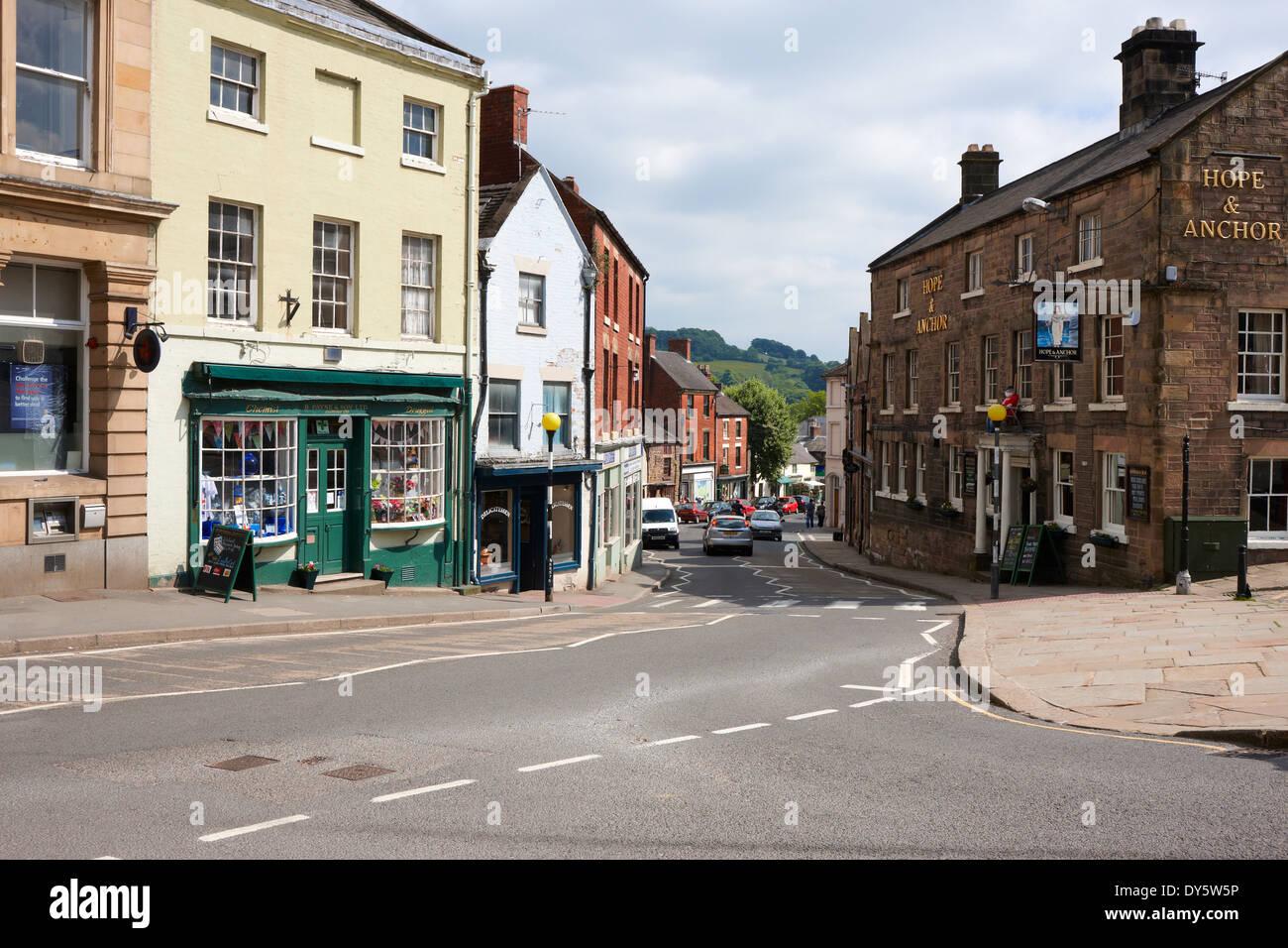 St John's Street in Wirksworth town centre, Derbyshire UK - Stock Image