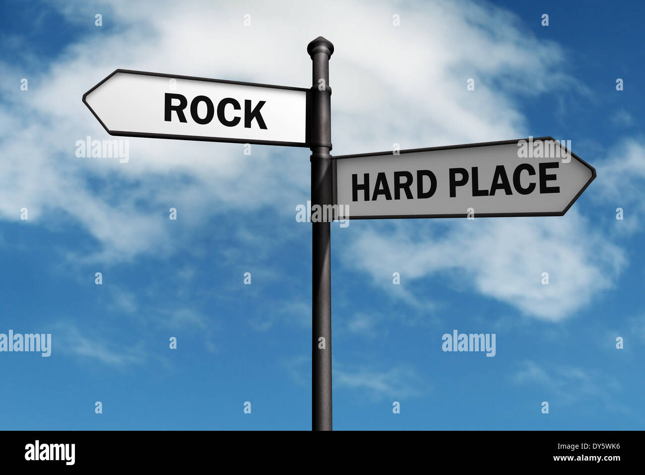 Stuck between a rock and a hard place - Stock Image