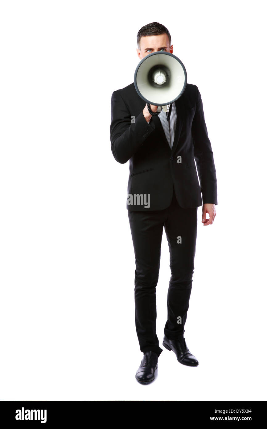 Businessman with megaphone isolated on a white background - Stock Image