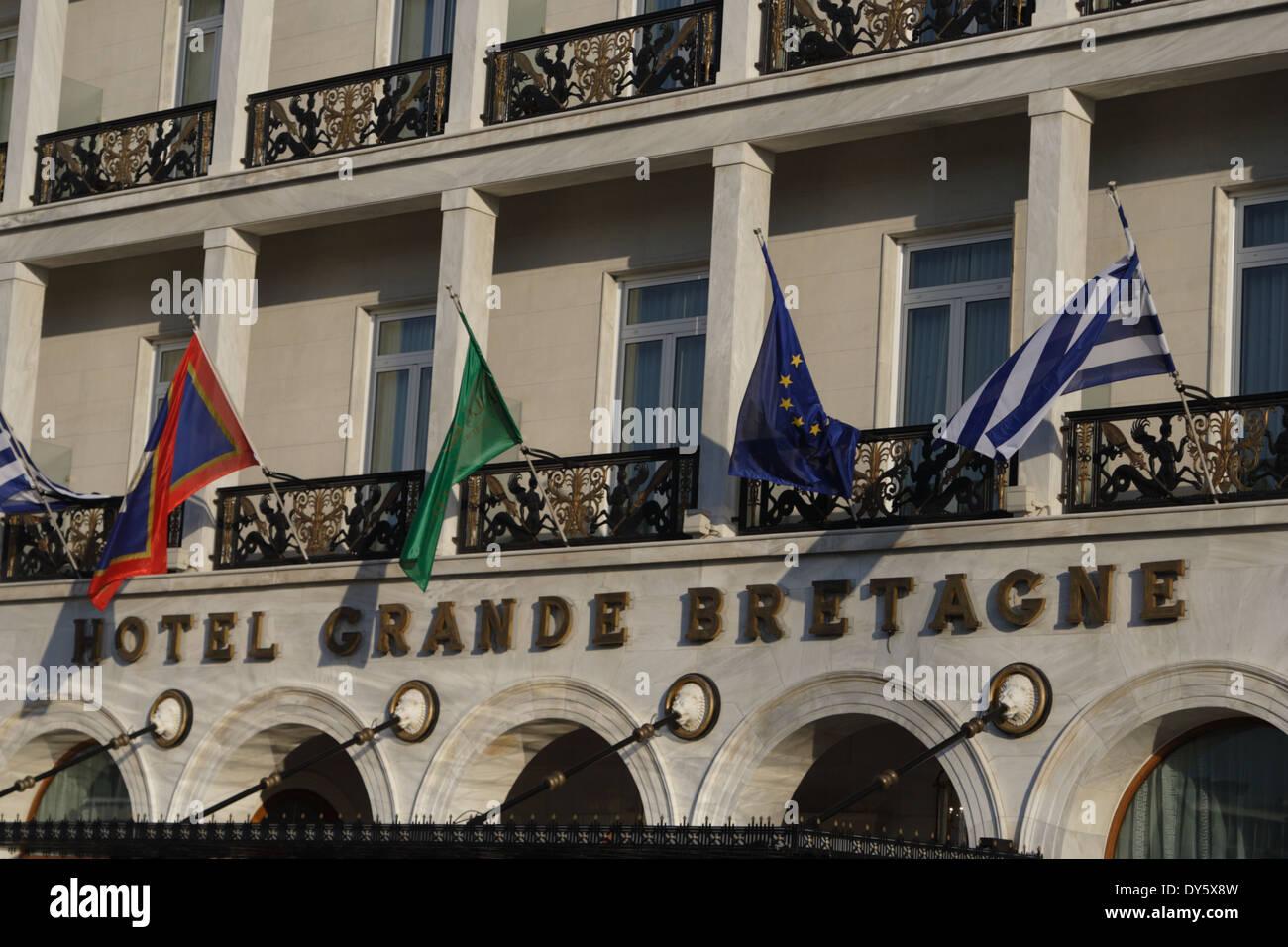 Facade of the Hotel Grande Bretagne, Athens, Greece - Stock Image