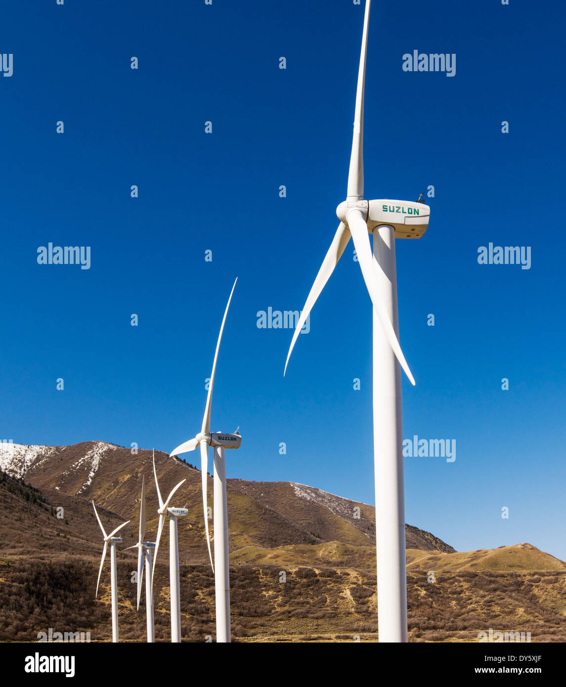 Wind turbines used to generate electricity, Spanish Fork, Utah, USA - Stock Image