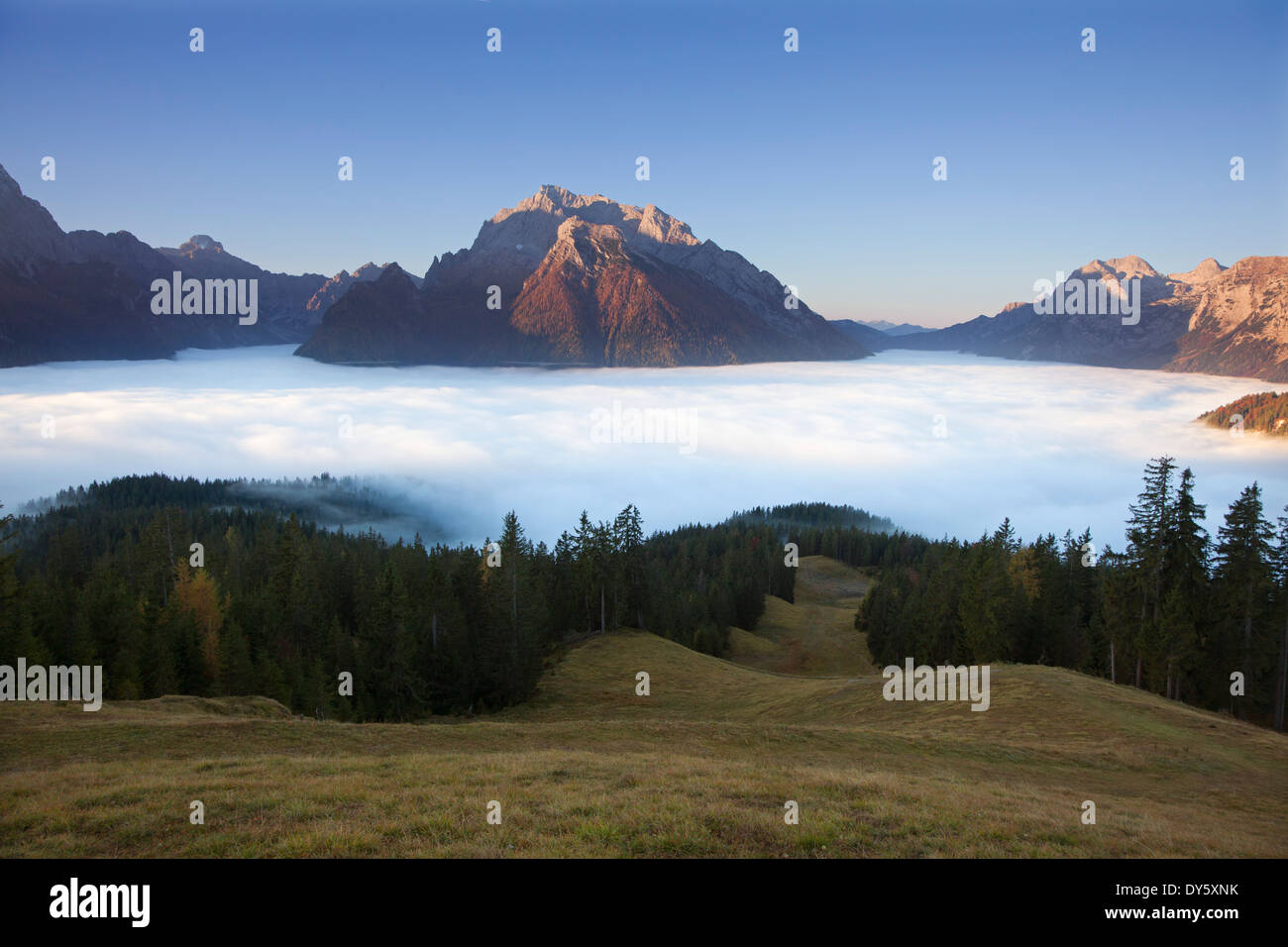 View over the fog in the valley onto Hochkalter and Reiteralpe, Berchtesgaden region, Berchtesgaden National Park, Upper Bavaria - Stock Image