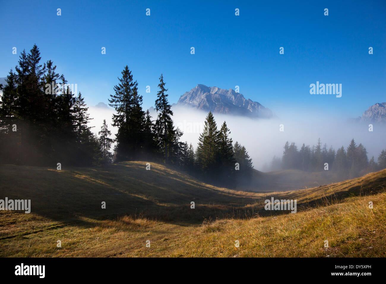Path in the fog, view onto Hochkalter, Berchtesgaden region, Berchtesgaden National Park, Upper Bavaria, Germany, Europe - Stock Image