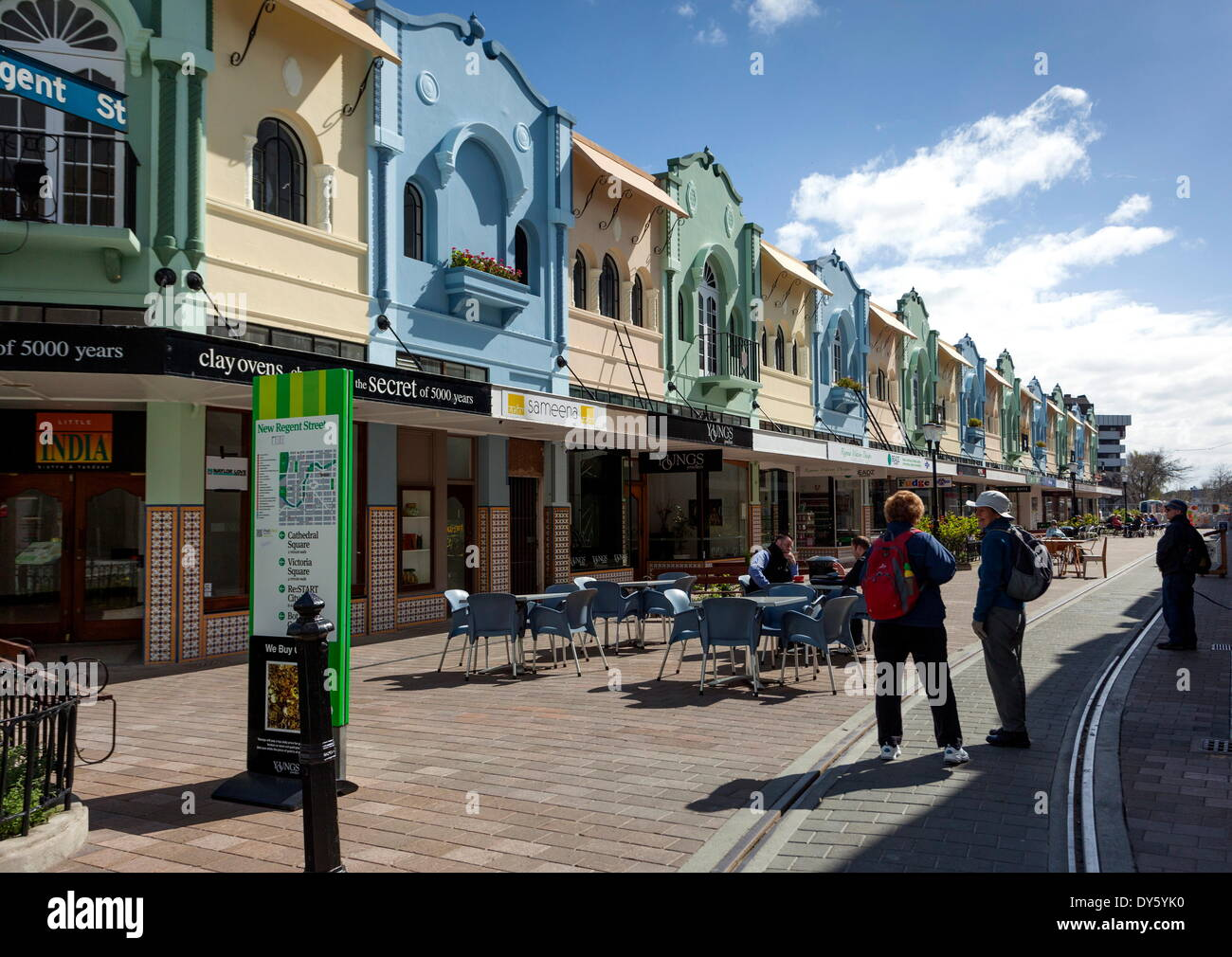 New Regent Street, Christchurch, Canterbury, South Island, New Zealand, Pacific - Stock Image