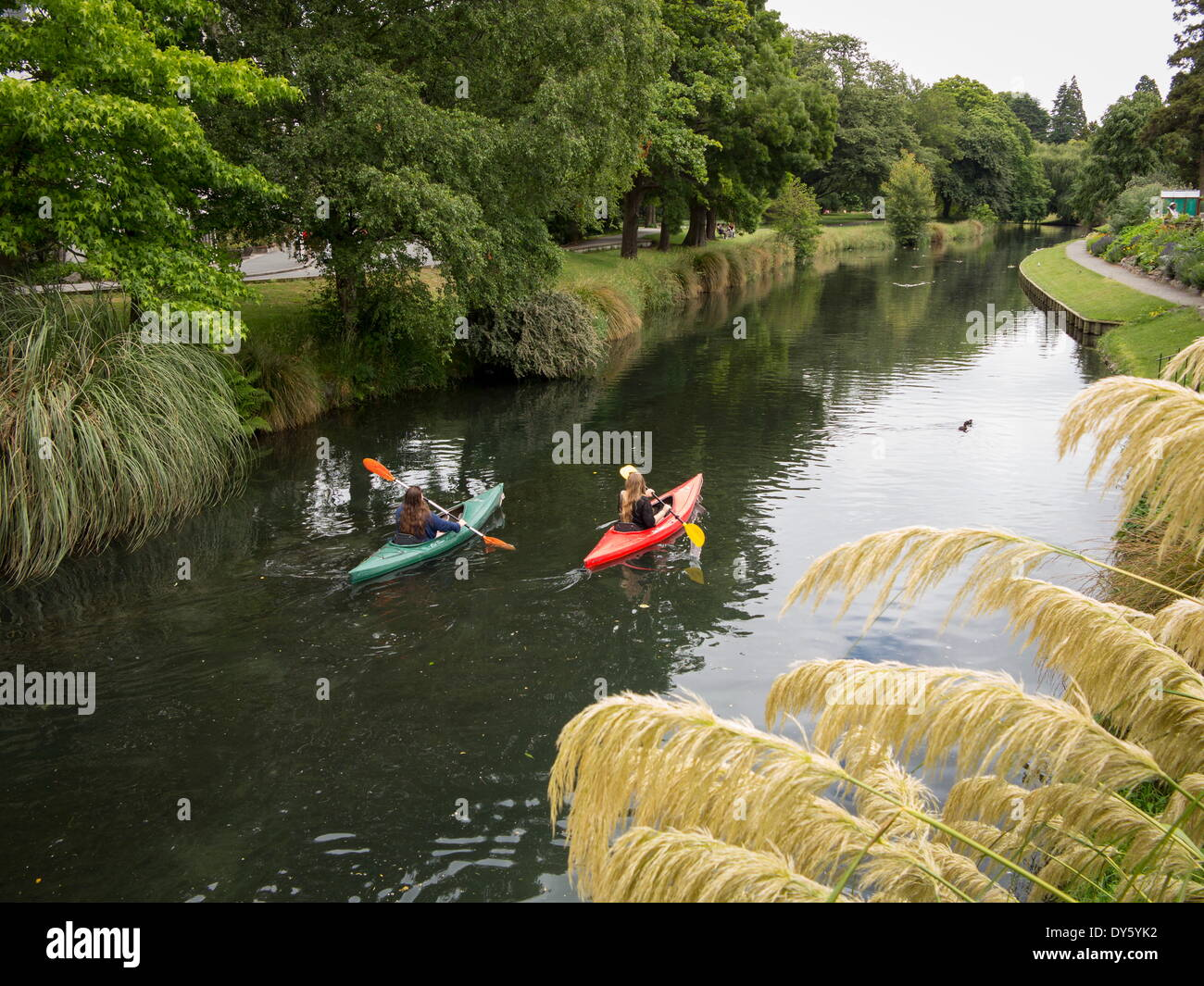 Two girls canoeing on the Avon River, Christchurch, Canterbury, South Island, New Zealand, Pacific - Stock Image