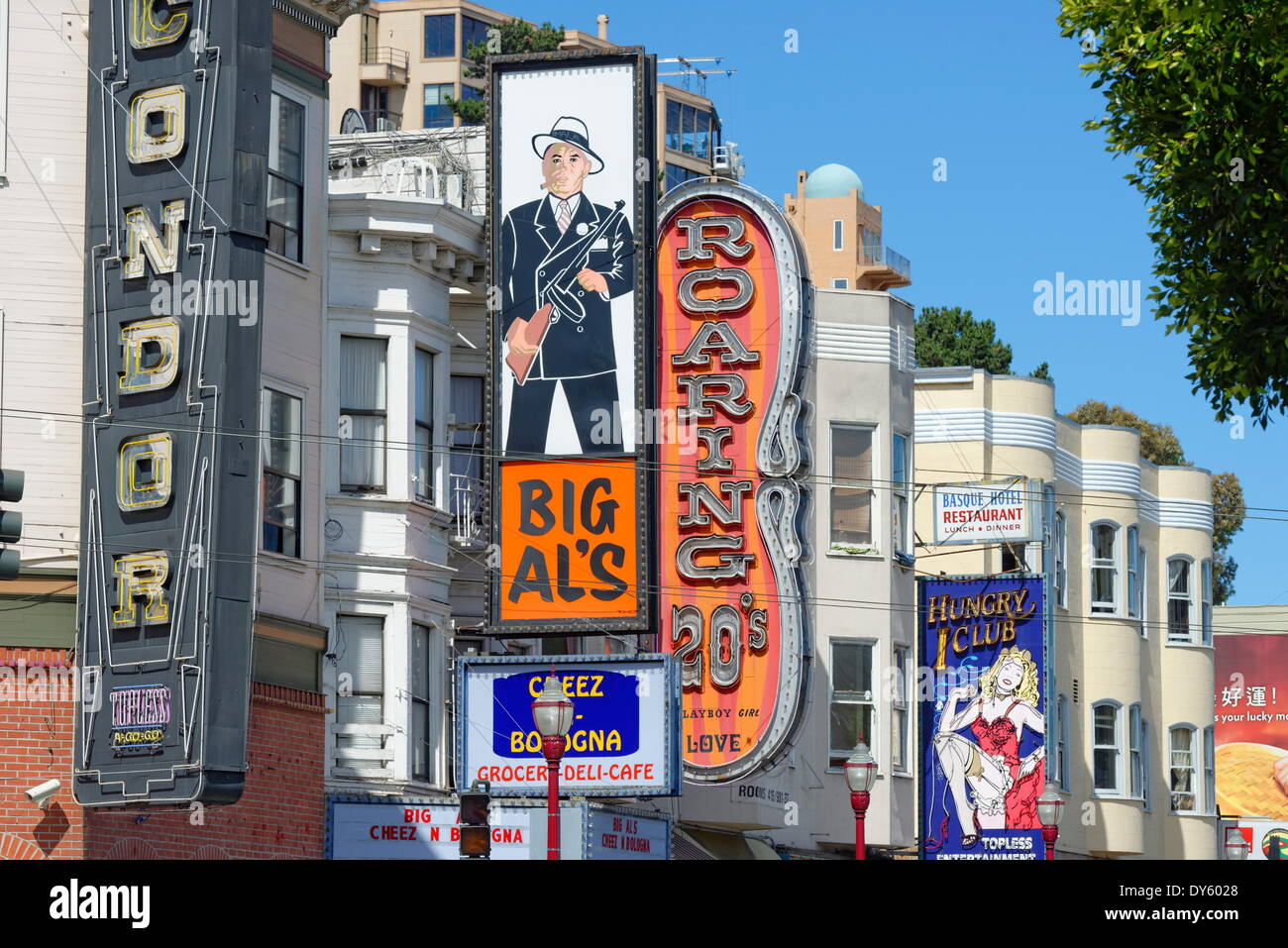 Clubs signs on buildings in North Beach district, San Francisco, California, United States of America, North America - Stock Image