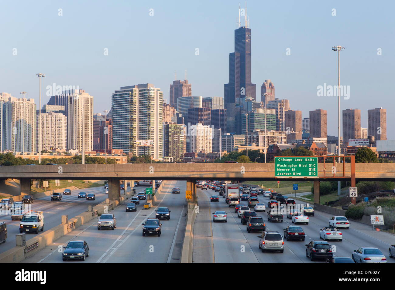 Interstate leading Downtown, Chicago, Illinois, United States of America, North America - Stock Image