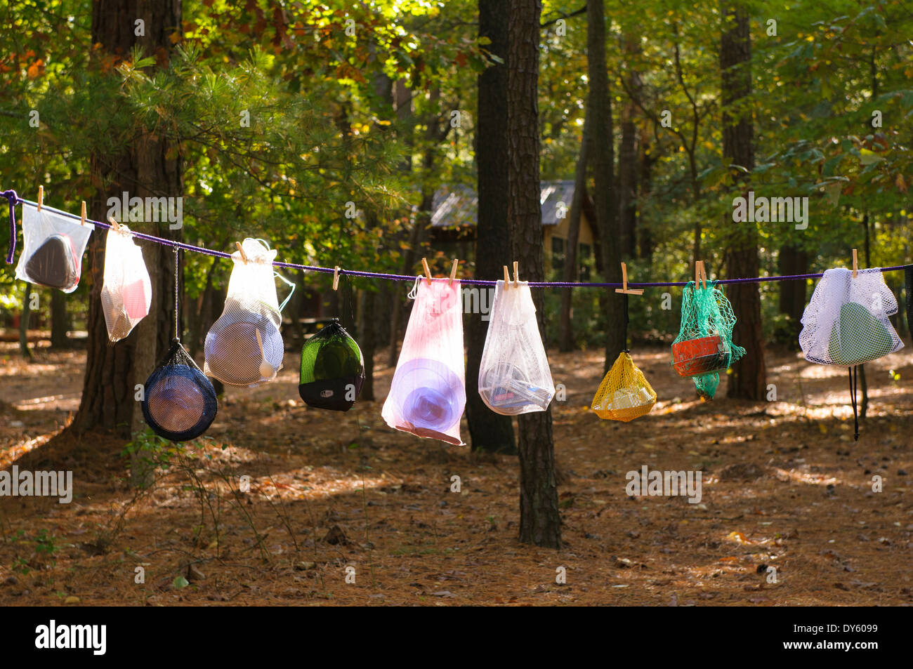 Mess kits, camping equipment, hanging to dry at camp site. - Stock Image