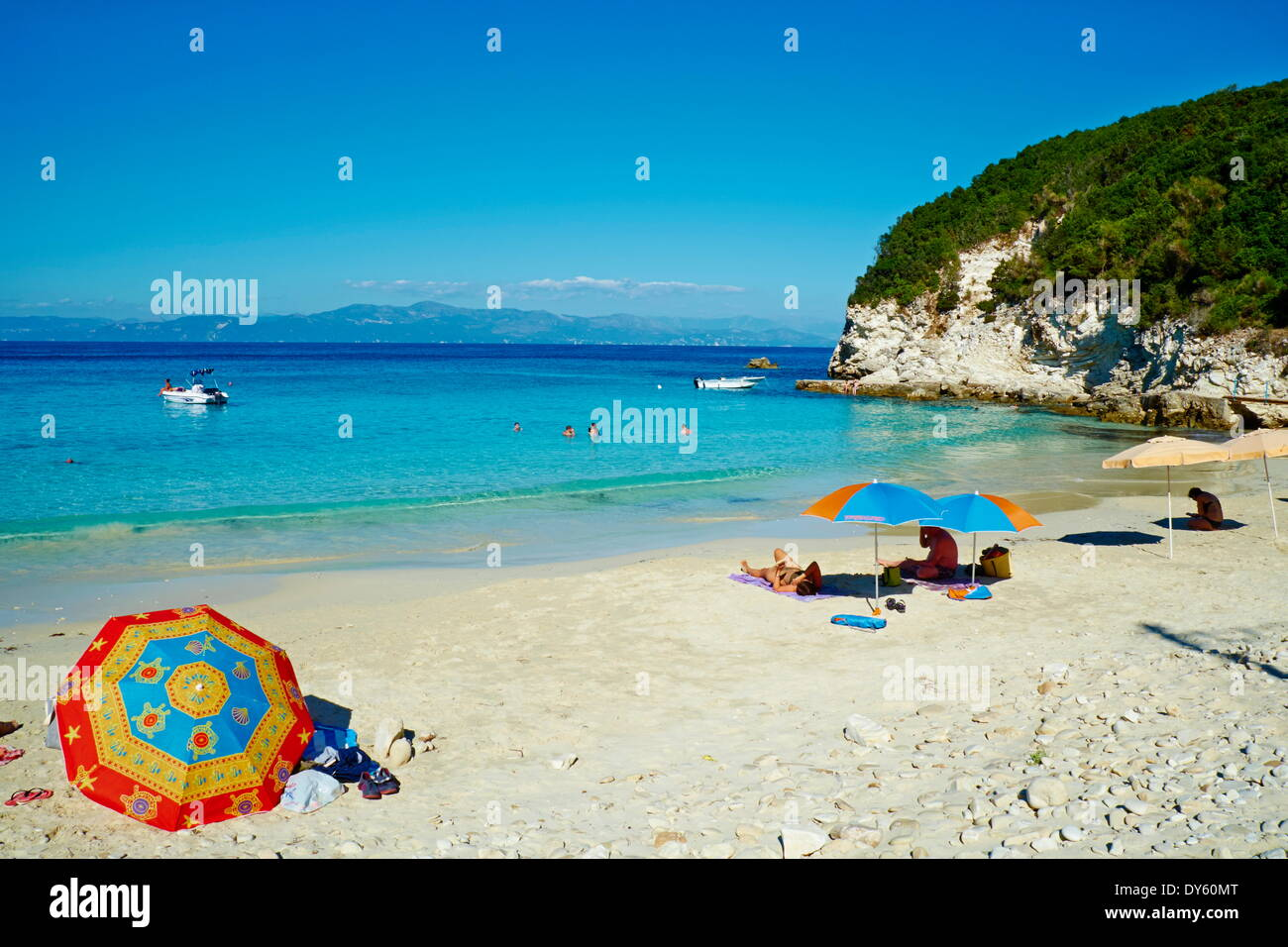Vrika beach, Antipaxos (Antipaxi), Ionian Islands, Greek Islands, Greece, Europe - Stock Image
