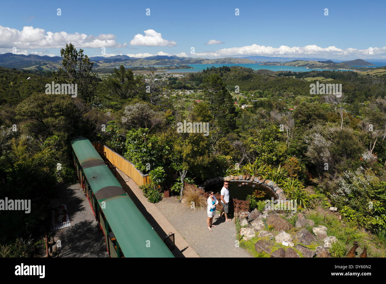 View of Hauraki Gulf from Eyefull Tower, Driving Creek Railway, Coromandel Peninsula, Waikato, North Island, New Zealand - Stock Image