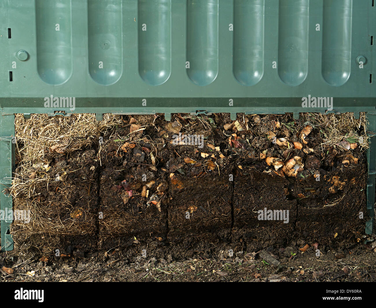 Closeup of green plastic compost bin with lower part removed to show advanced soil decomposition process Stock Photo