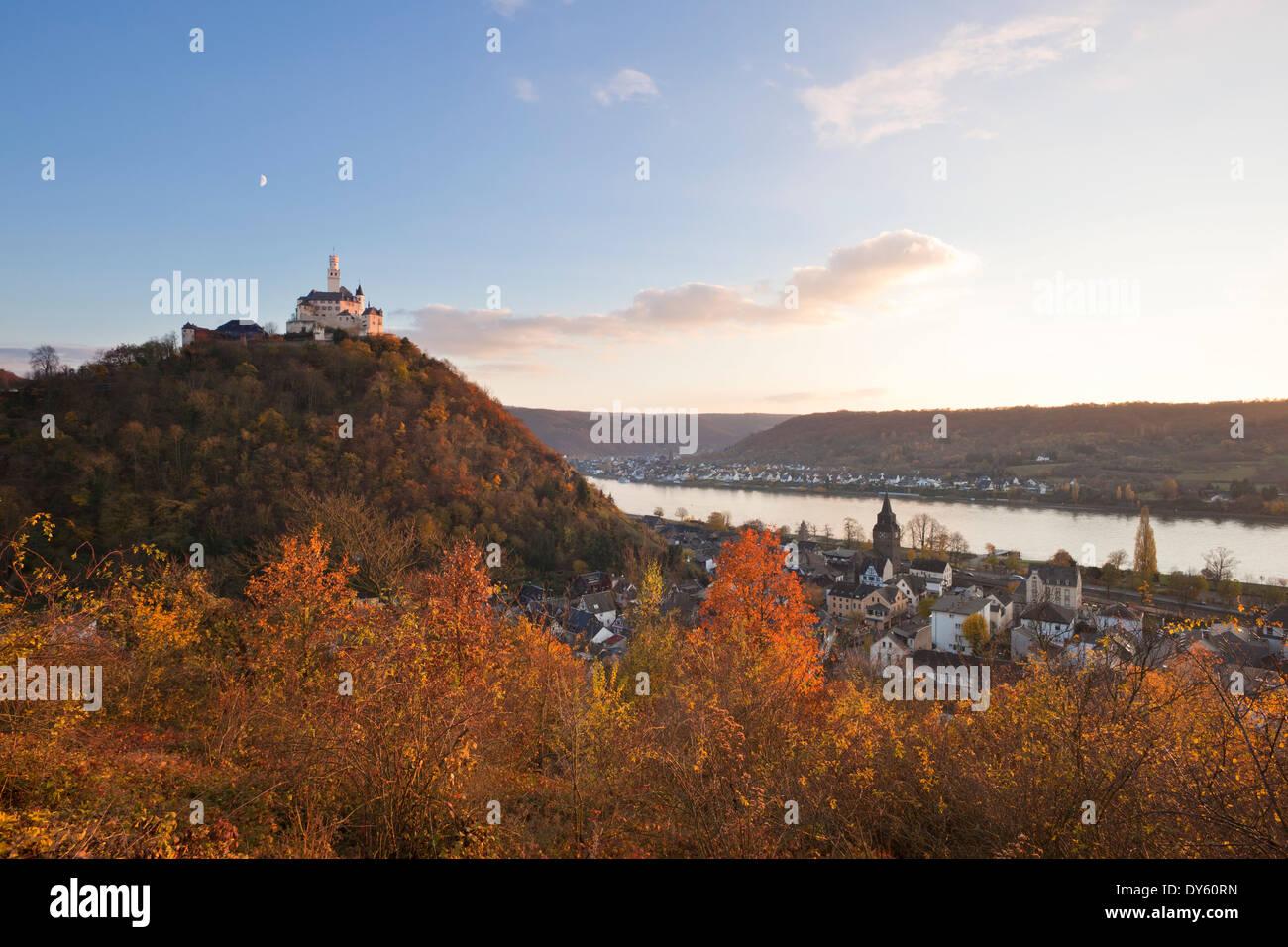Marksburg castle, near Braubach, Rhine river, Rhineland-Palatinate, Germany Stock Photo