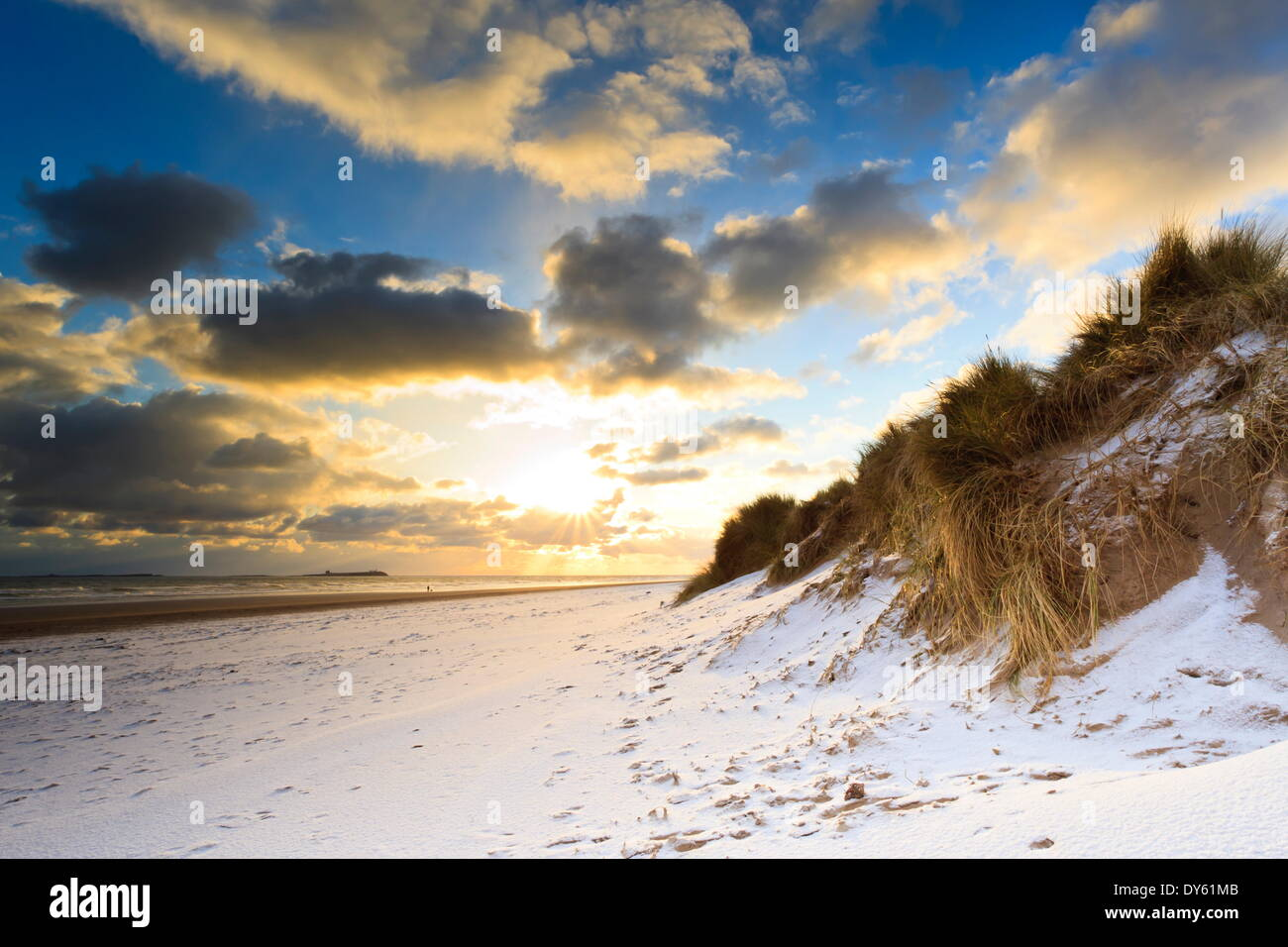 Man walks dog on snow covered Bamburgh beach at dawn with view to Farne Islands, Northumberland, England Stock Photo