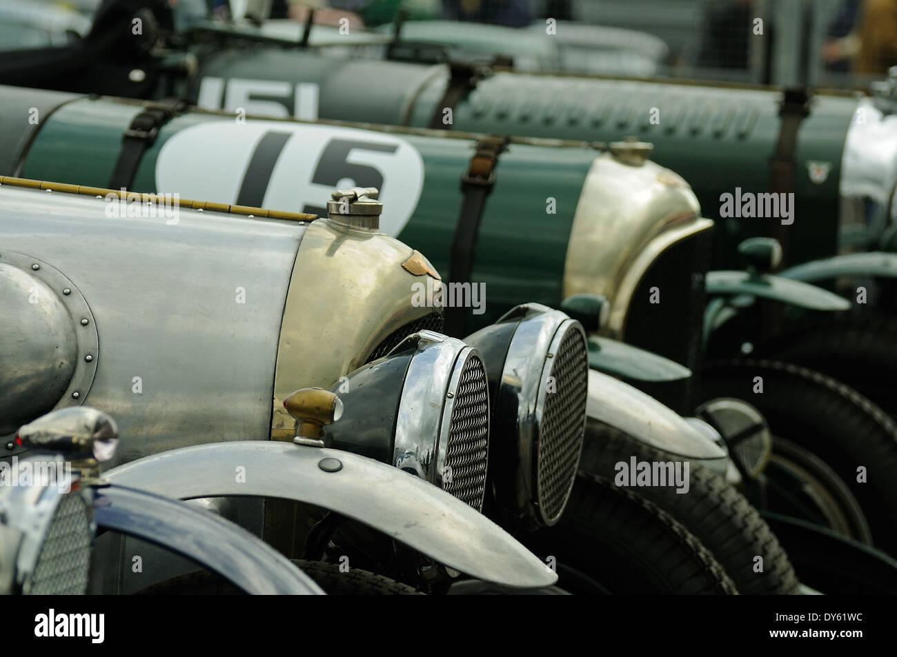 Vintage Bentleys line up at Donington Park for a race - Stock Image
