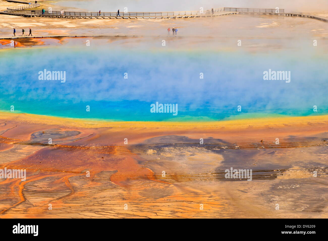Visitors, steam and vivid colours, Grand Prismatic Spring, Yellowstone National Park, UNESCO Site, Wyoming, USA - Stock Image