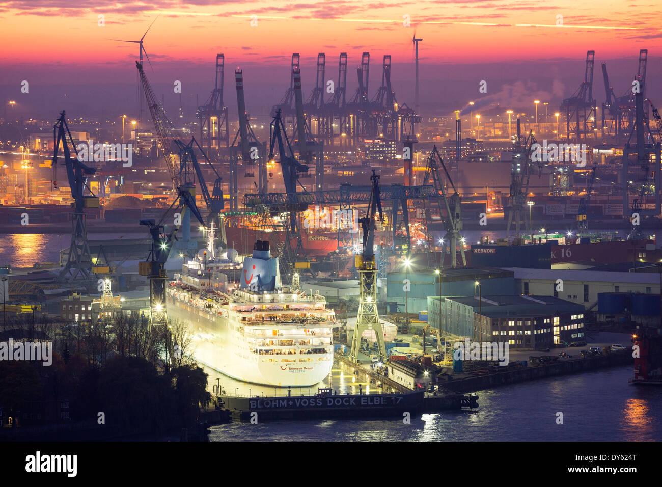 View towards Blohm and Voss Dock Elbe 17, Hamburg Harbour, Hanseatic City of Hamburg, Germany, Europe - Stock Image