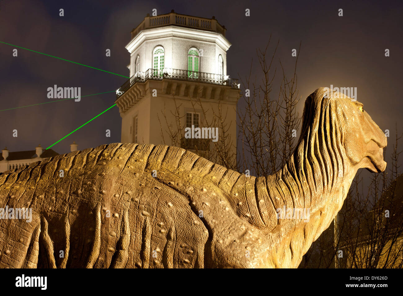 Zwehren Tower of the Fridericianum, work of art Laserscape by Horst H. Baumann from documenta 6 , Kassel, Hesse, Germany, Europe - Stock Image
