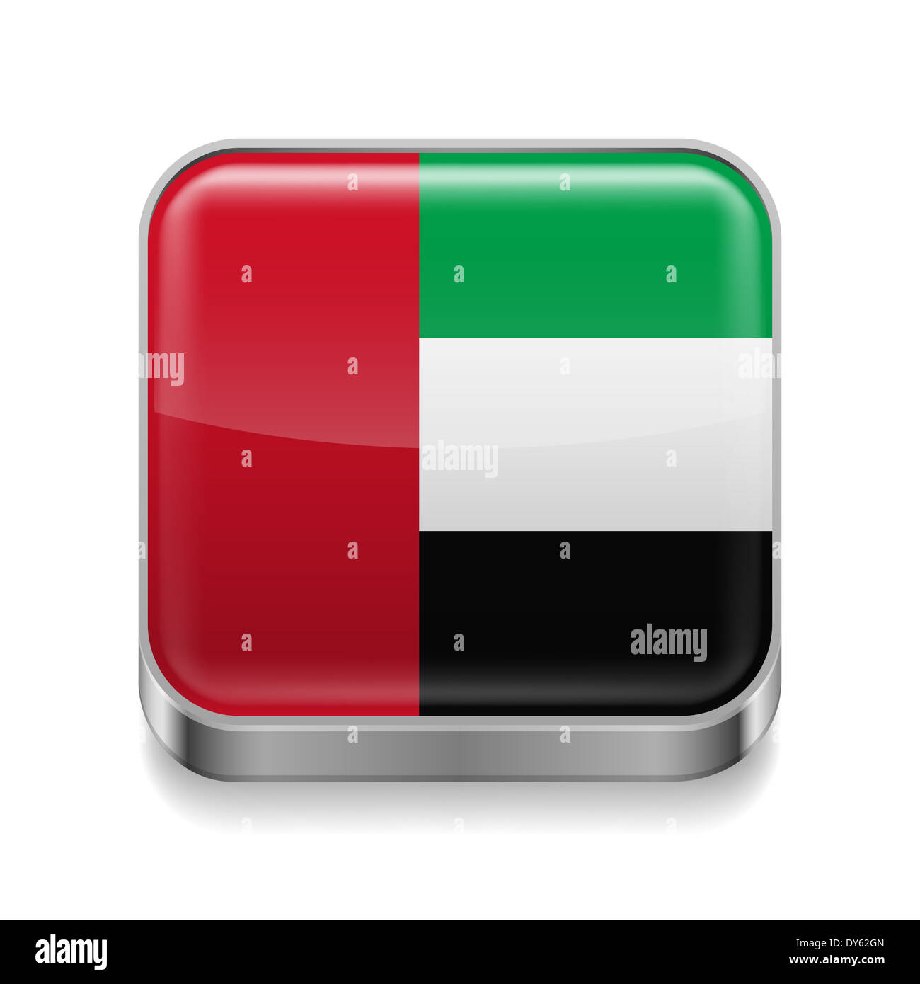 Metal square icon with flag colors of United Arab Emirates - Stock Image