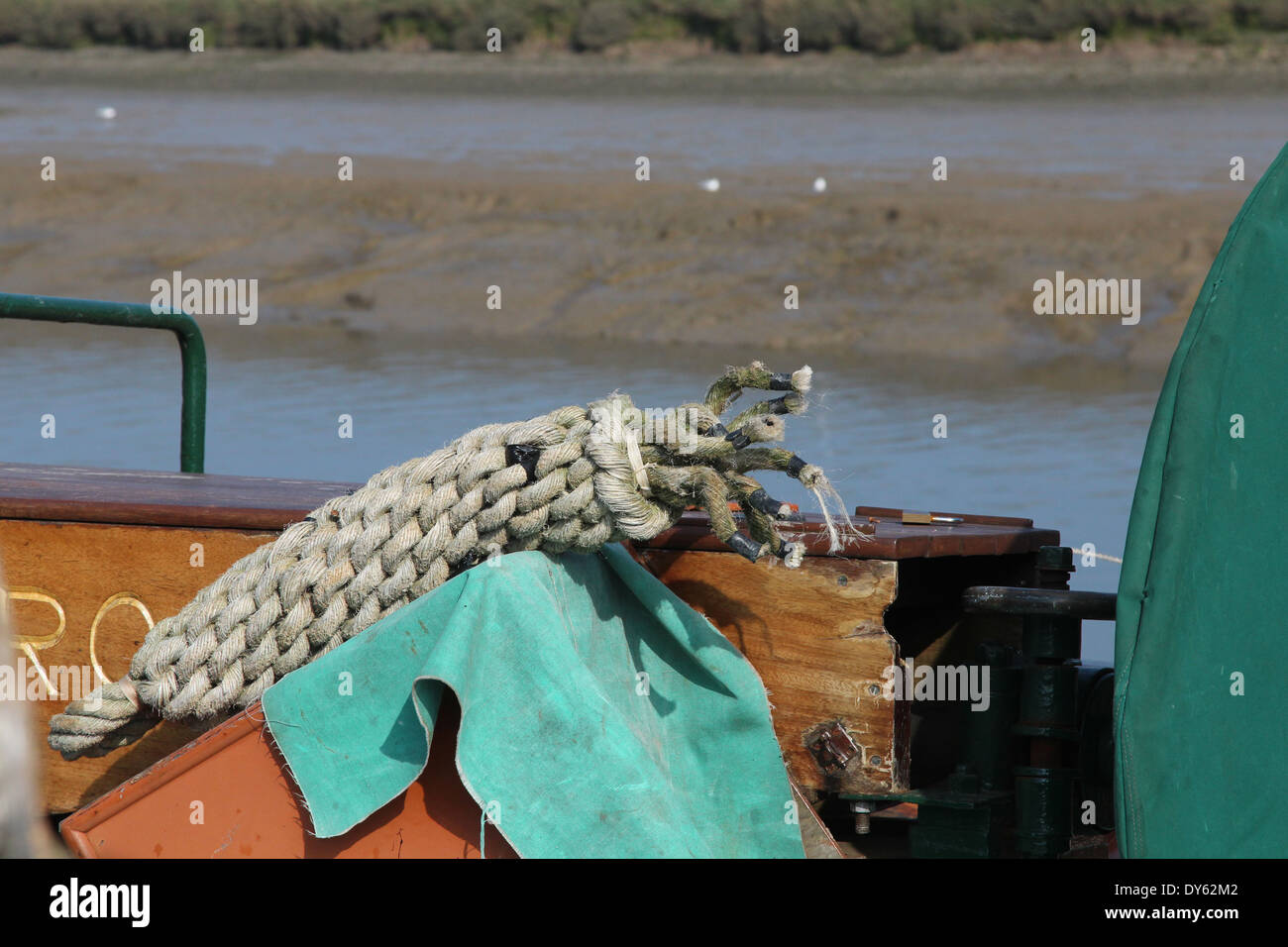 Close up of rope on a boat. - Stock Image