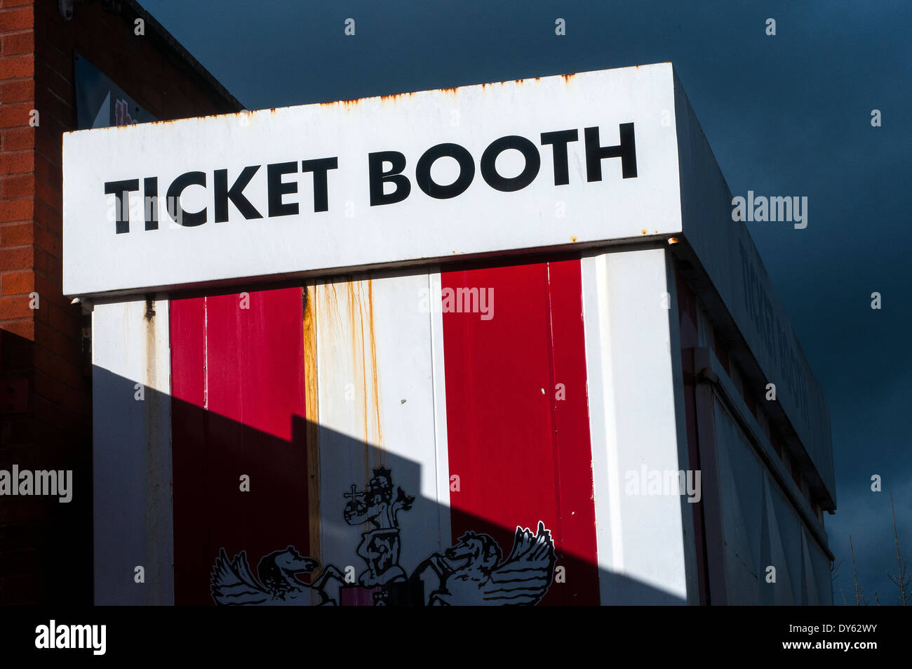 ticket booth at exeter city football club, event, booth, game, park, music, circus, red, fair, pass, play, outdoor, entry, fun, - Stock Image