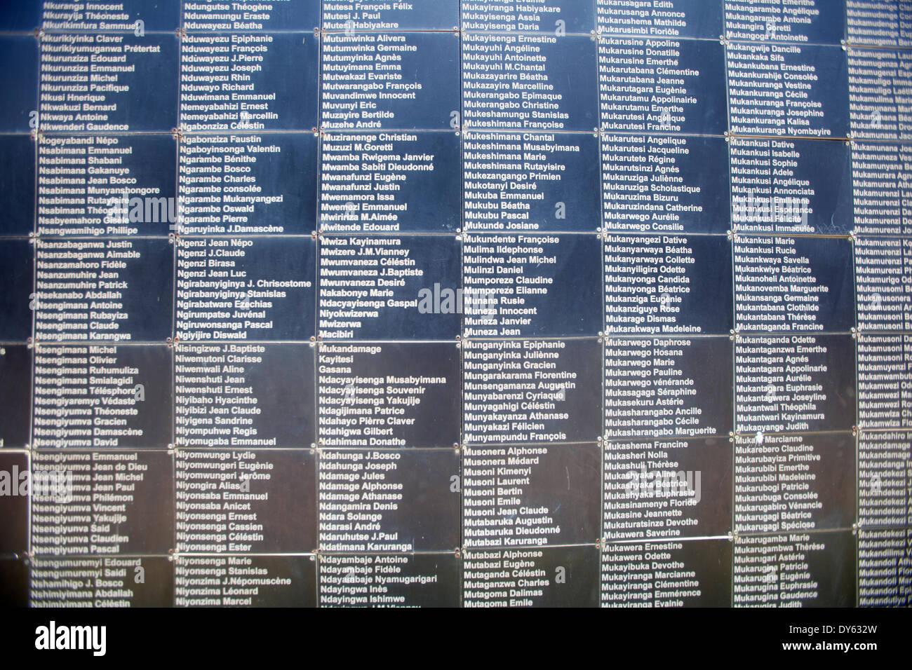 Kigali, Rwanda. 6th April 2014. A wall of remembrance outside The Kigali Genocide Memorial Centre with some of the Stock Photo