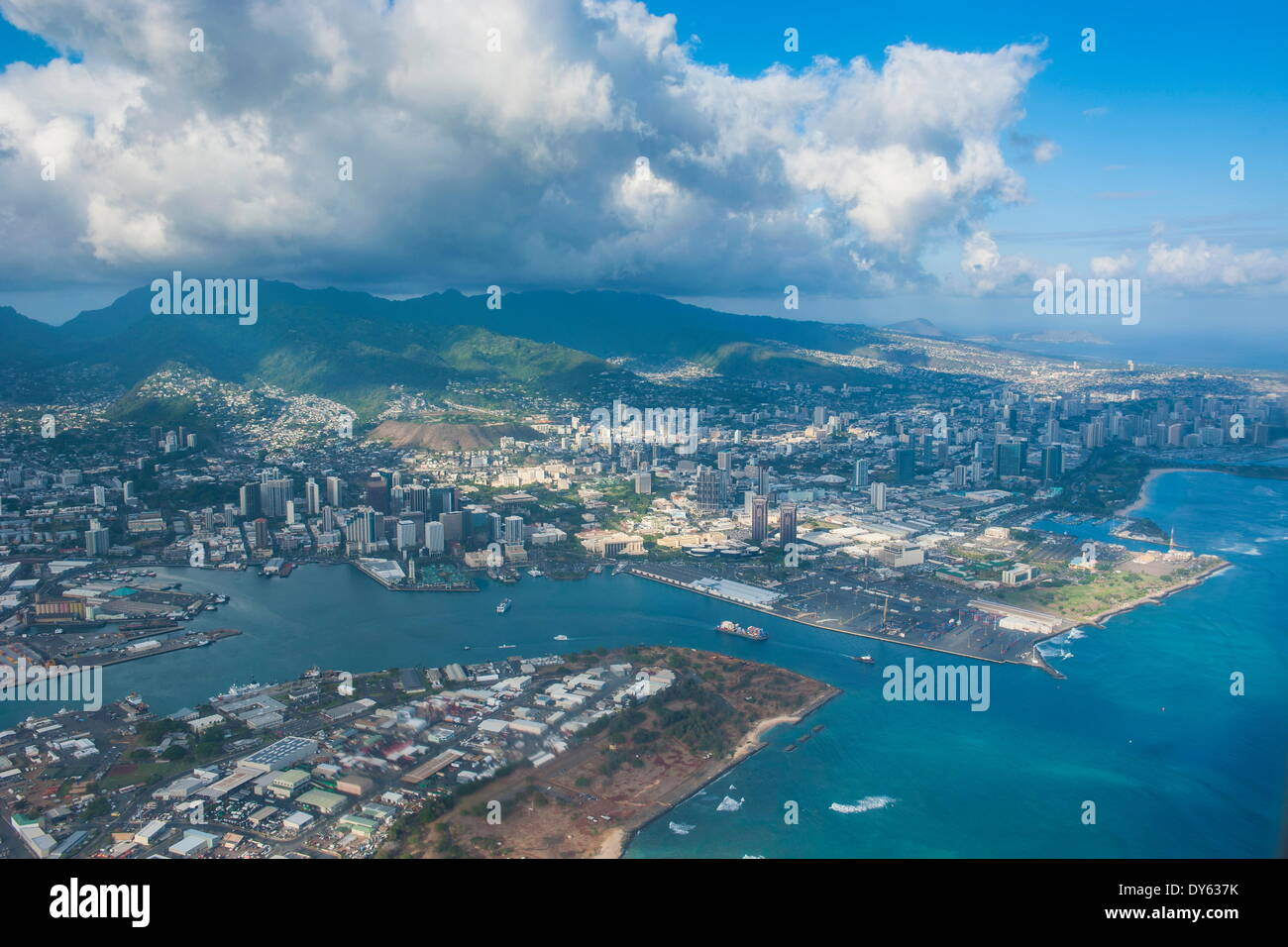 Aerial of Honolulu, Oahu, Hawaii, United States of America, Pacific - Stock Image