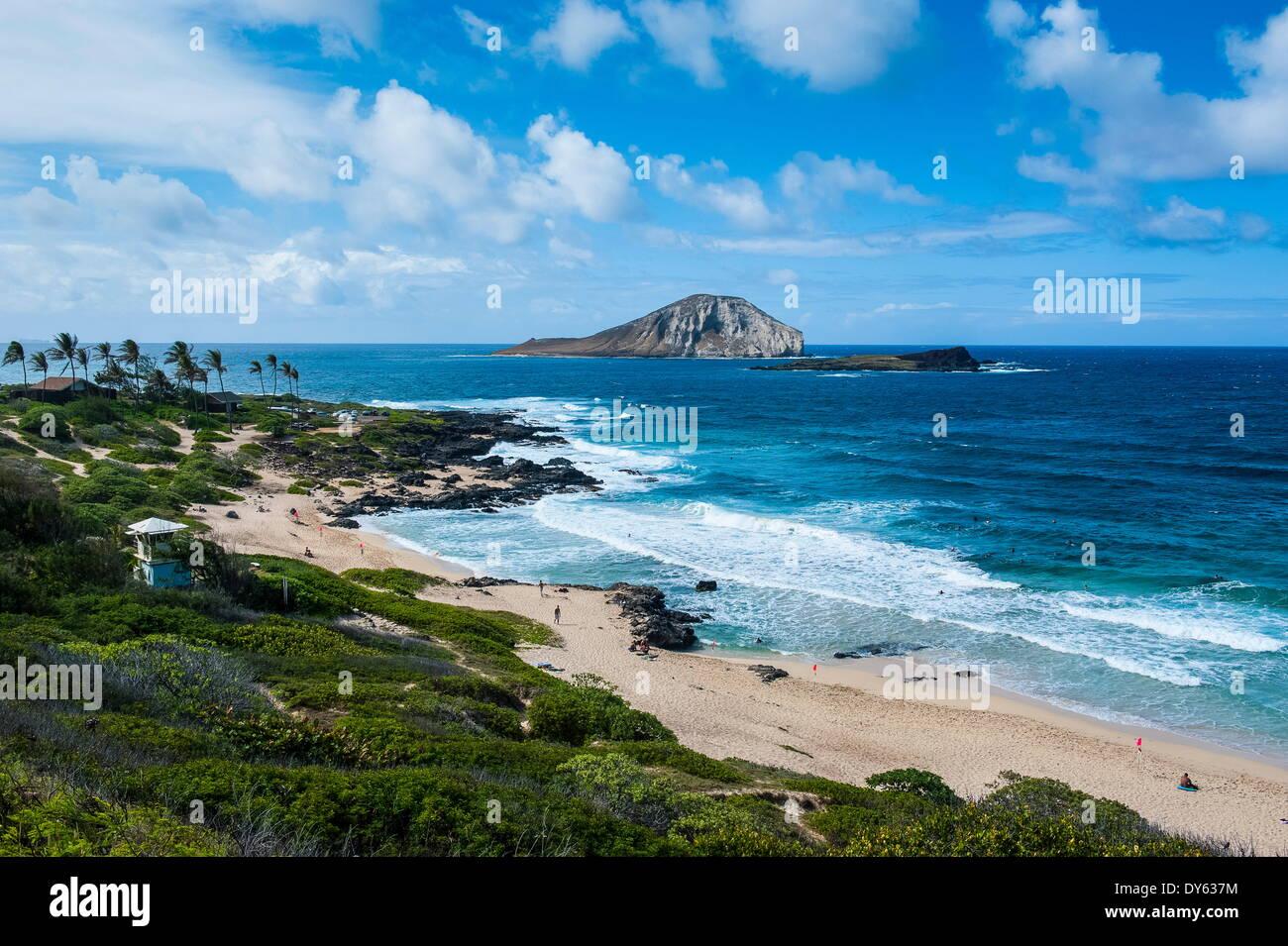 Kaohikaipu Island and Kaupo Beach, Oahu, Hawaii, United States of America, Pacific - Stock Image