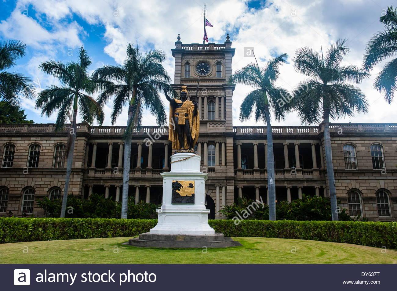 Iolani Palace, Honolulu, Oahu, Hawaii, United States of America, Pacific - Stock Image