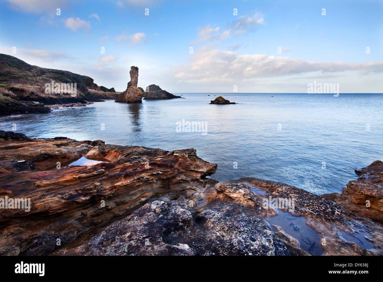 Rock and Spindle on the Fife Coast near St, Andrews, Fife, Scotland, United Kingdom, Europe - Stock Image