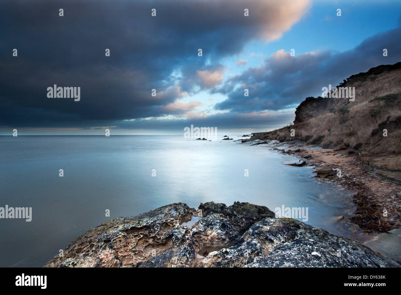 Fife coast at dusk near St. Andrews, Fife, Scotland, United Kingdom, Europe - Stock Image