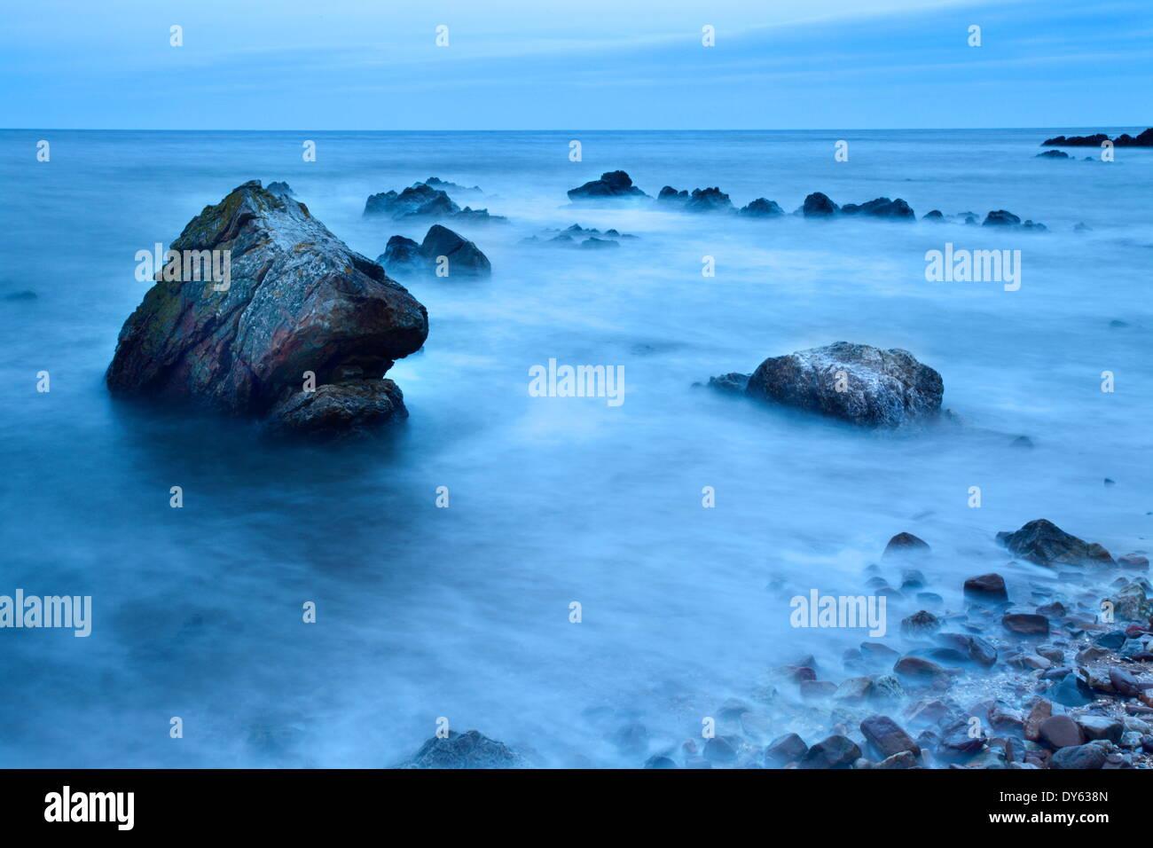 Rocks and sea on the Fife Coast near St. Andrews, Fife, Scotland, United Kingdom, Europe - Stock Image