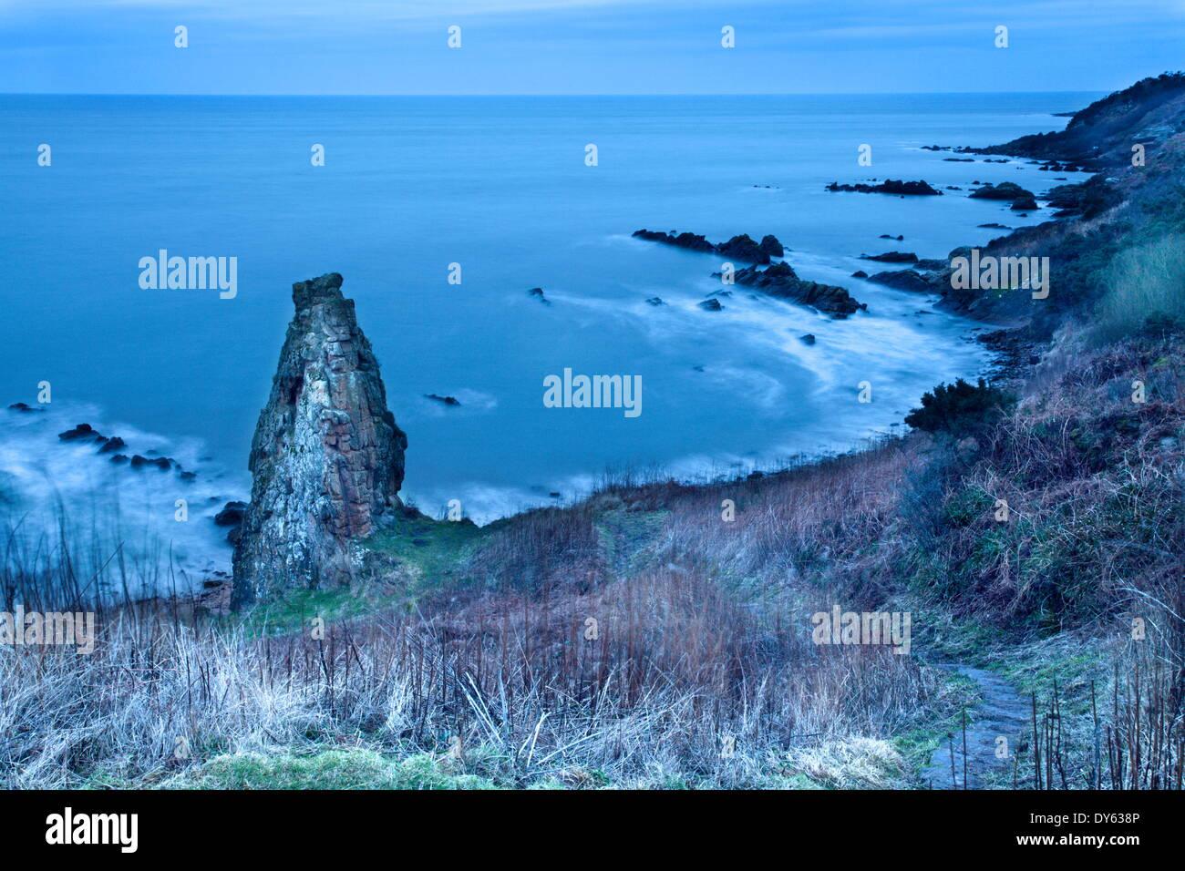 Rock Stack on the Fife Coast near St. Andrews, Fife, Scotland, United Kingdom, Europe - Stock Image