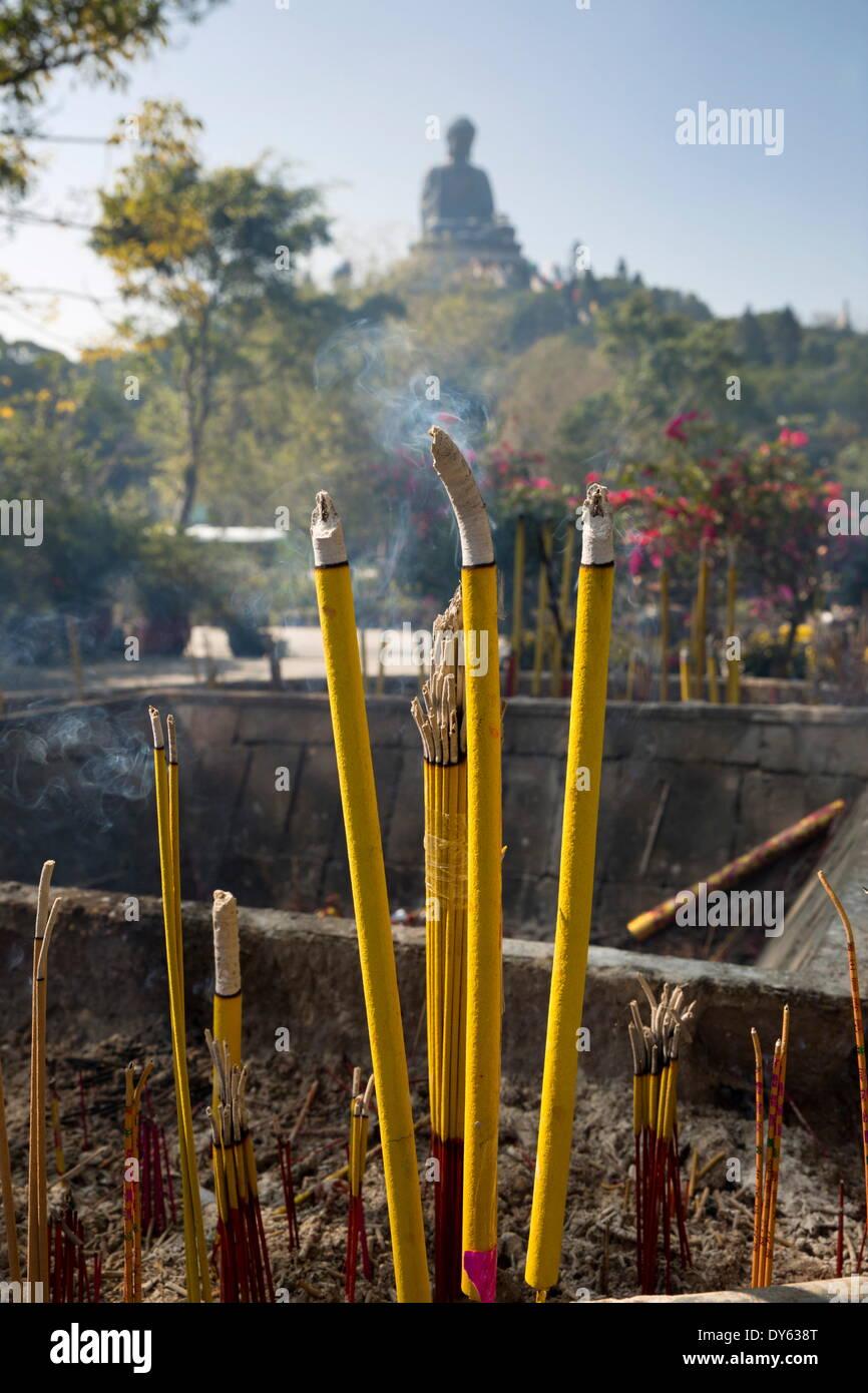 Burning incense, Big Buddha, Po Lin Monastery, Ngong Ping, Lantau Island, Hong Kong, China, Asia Stock Photo
