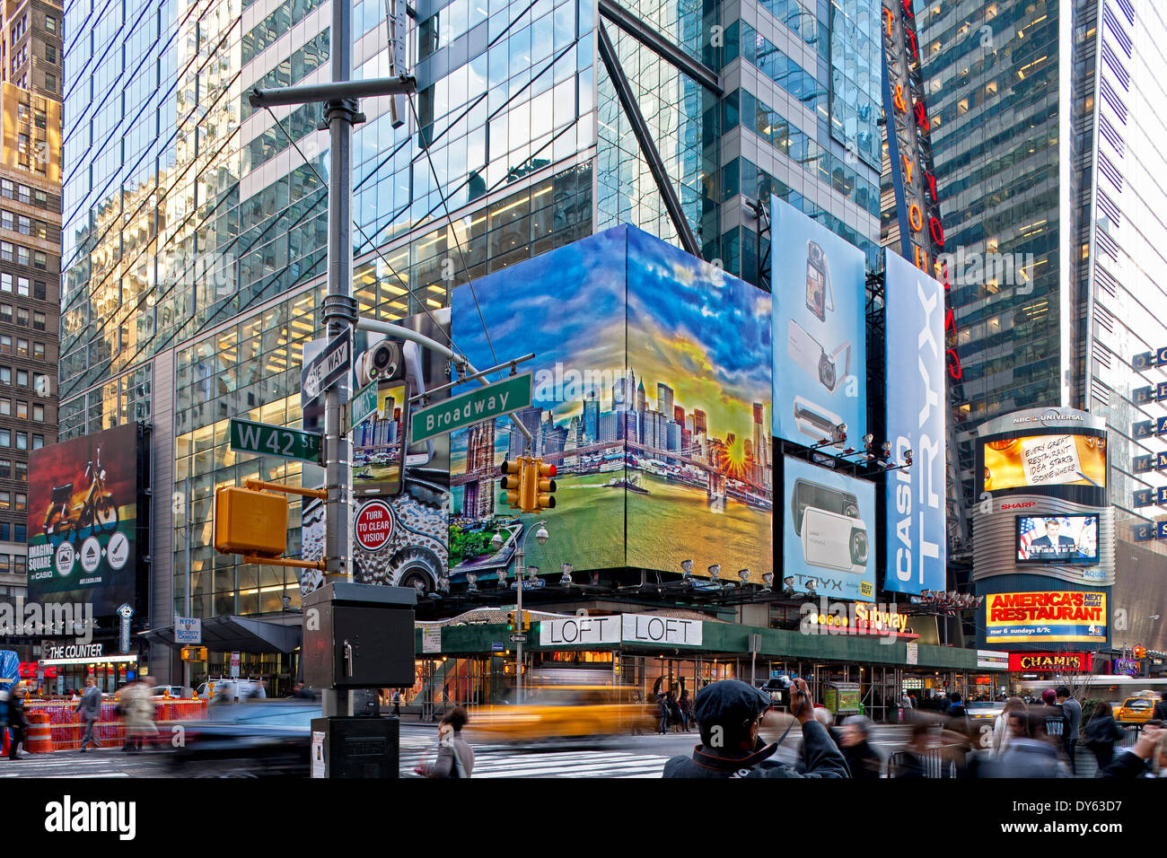 Corner of 42nd Street and Broadway, Manhattan, New York City, New York, North America, USA - Stock Image