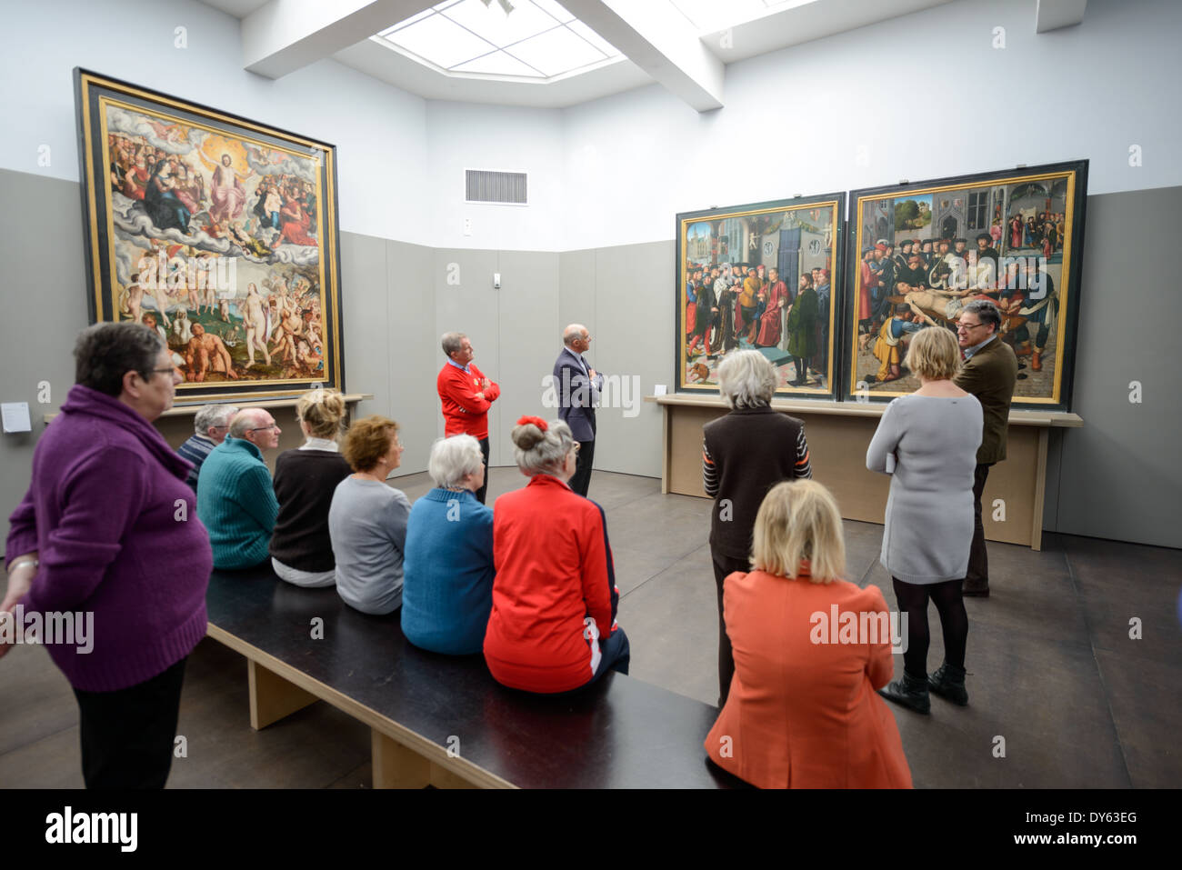 BRUGES, Belgium - Flemish and Belgian painting on display at the Groeningemuseum, a municipal art museum in Bruges, Belgium. The museum is famous for its collection of Flemish Primitive art, along with other masterpieces from other periods. - Stock Image