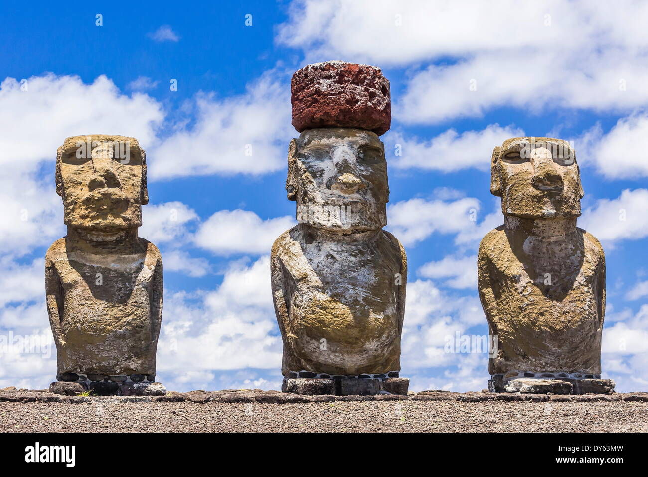 Details of moai at the restored ceremonial site of Ahu Tongariki on Easter Island (Rapa Nui), UNESCO Site, Chile - Stock Image