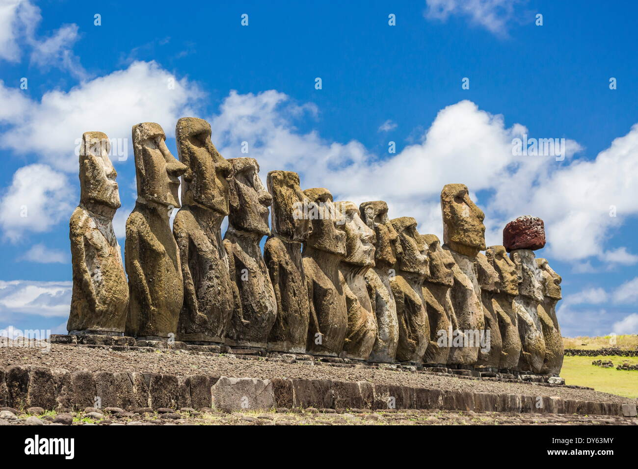 Fifteen moai at the restored ceremonial site of Ahu Tongariki on Easter Island (Isla de Pascua) (Rapa Nui), UNESCO Site, Chile - Stock Image
