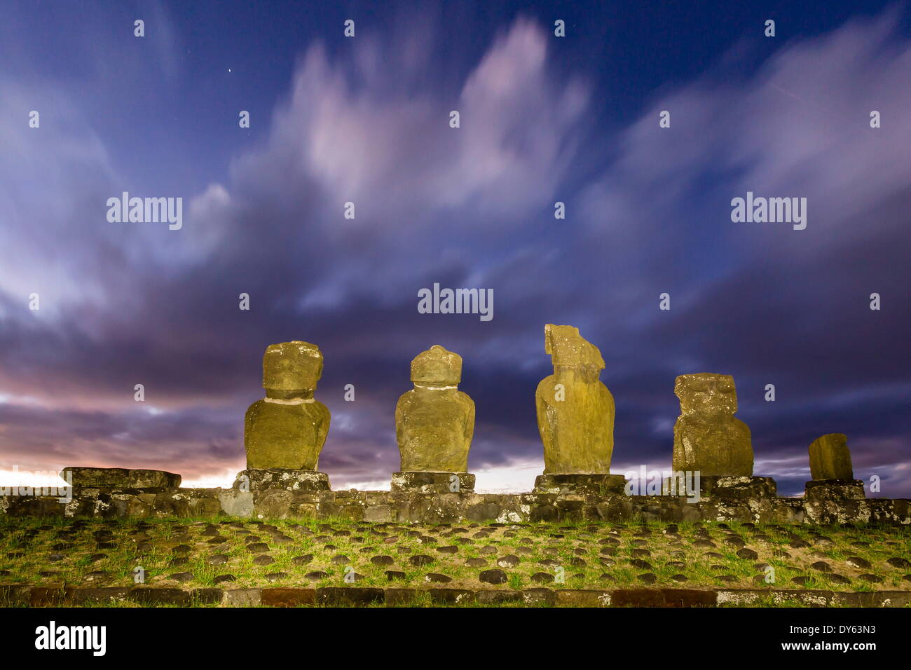 Preserved original moai in the Tahai Archaeological Zone on Easter Island (Isla de Pascua) (Rapa Nui), UNESCO Site, Chile - Stock Image