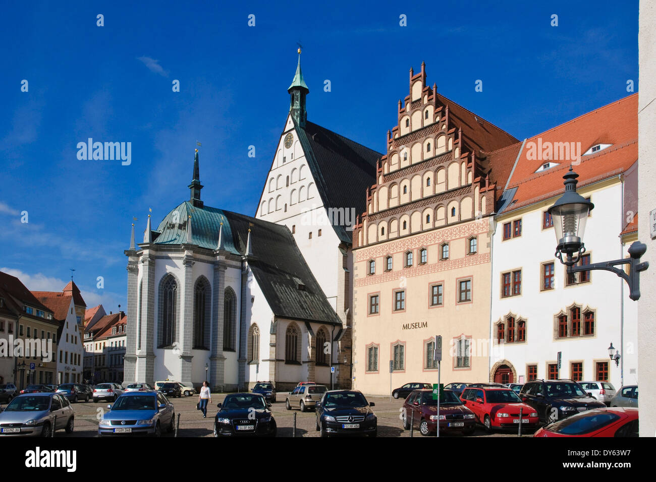 Untermarkt with cathedral and museum, Freiberg, Saxony, Germany, Europe - Stock Image