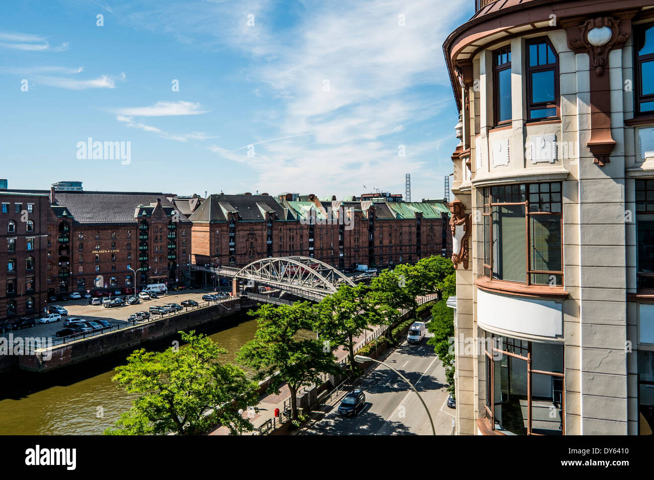 View to the Speicherstadt and the Bei Street of Hamburg, Hamburg, Germany - Stock Image