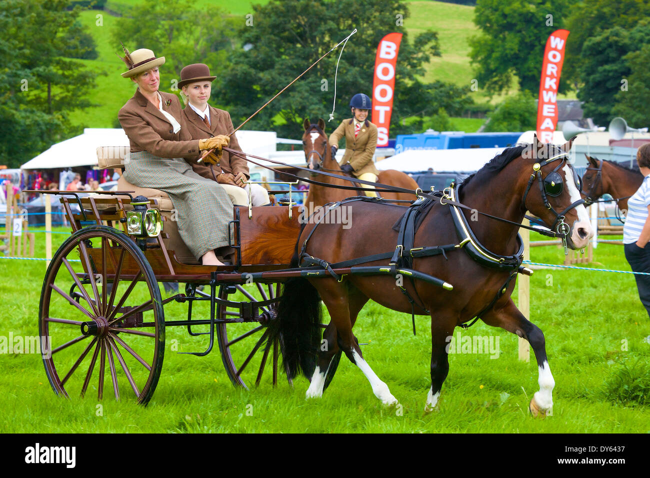 Two women carriage driving at Hawkshead Show, Hawkshead, Cumbria, England, United Kingdom - Stock Image