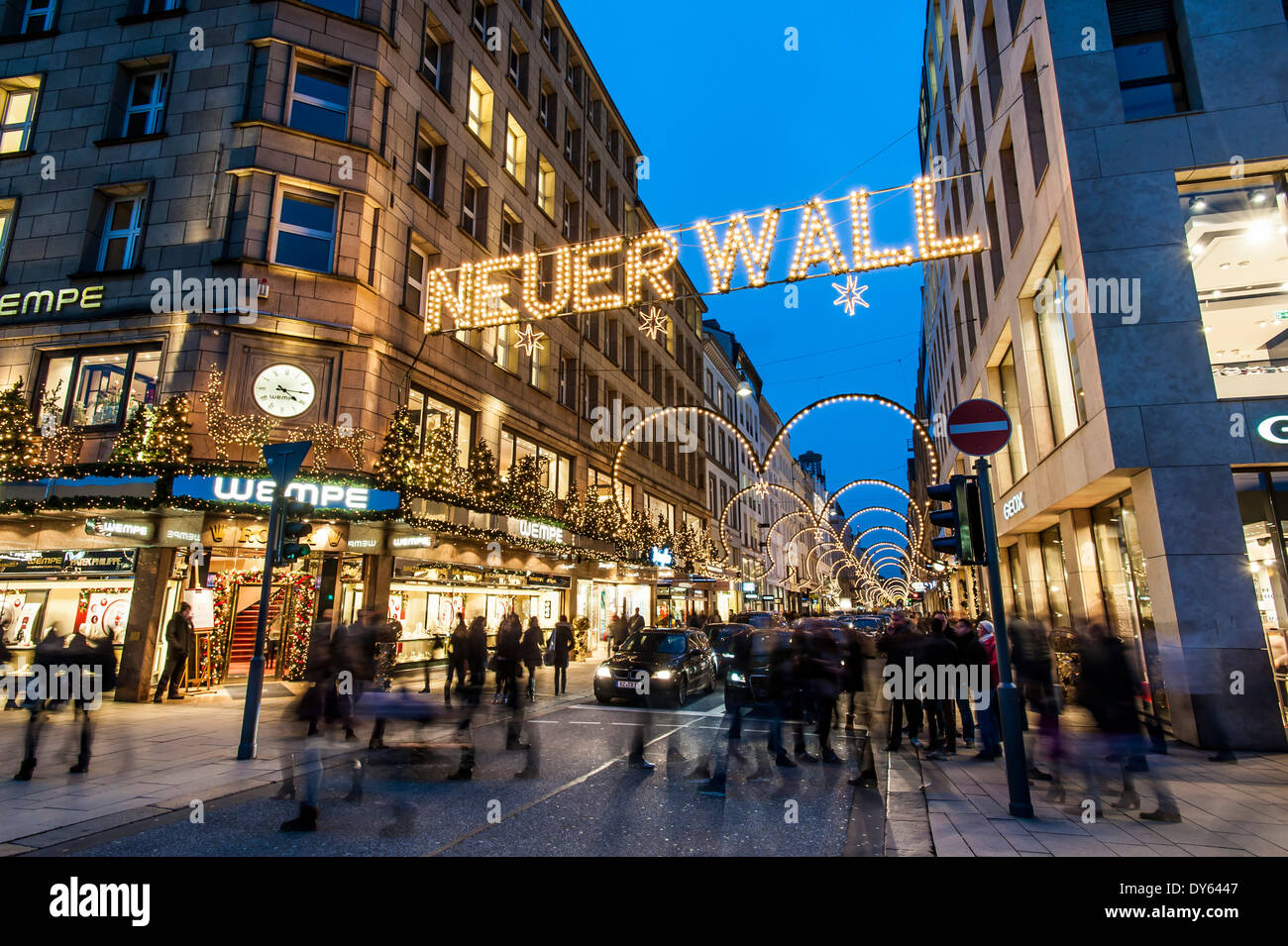shopping street in hamburg called neuer wall at christmas time stock photo 68361783 alamy. Black Bedroom Furniture Sets. Home Design Ideas