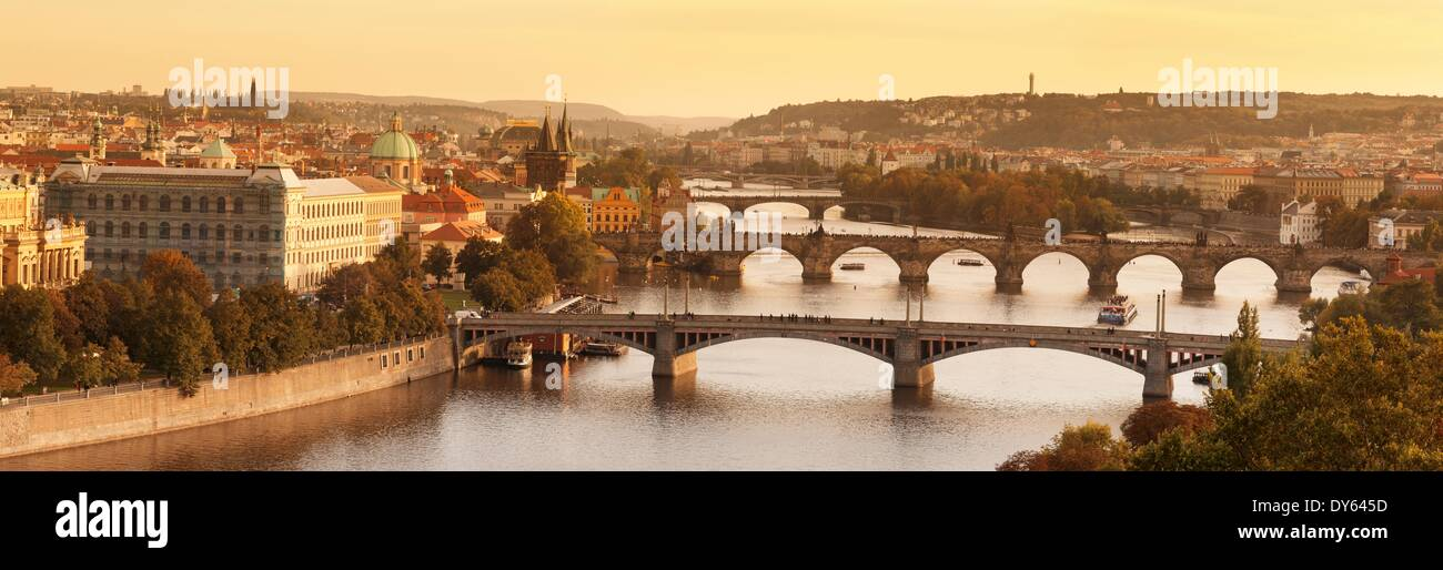 Bridges of Vltava River including Charles Bridge, UNESCO Site, and Old Town with Old Town Bridge Tower, Prague, Czech Republic - Stock Image