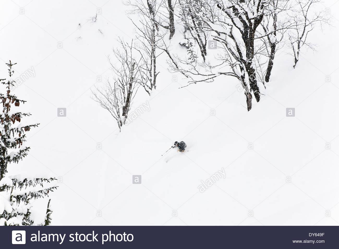 Man downhill skiing, Laliderer Scharte, Risstal, Tyrol, Austria Stock Photo